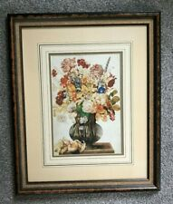 LARGE FRAMED PRINT MOUNTED VASE OF FLOWERS OLD PICTURE GREAT SHABBY FRAME