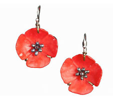 Red Poppy Flower Earrings by Michael Michaud