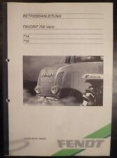 Fendt Favorit 714 + 716 Vario Betriebsanleitung
