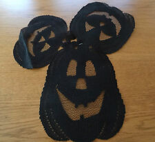 """Heritage Lace Polyester Farbic """"Black"""" Pumpkins 3 in set Window decor (317)"""