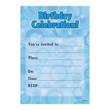 16 Blue Sparkle Happy Birthday Party Invitations Invites Plus Envelopes