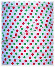 3/8 CHRISTMAS JUMBO DOTS RED GREEN GROSGRAIN RIBBON 4 HAIRBOW BOW  5YD