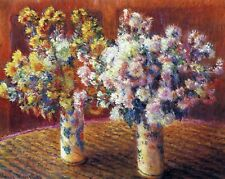 Two vases with Chrysanthemums by Claude Monet Giclee Reproduction on Canvas