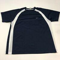 Nike Sportswear Shirt Men's 2XL XXL Short Sleeve White Navy Crew Neck Polyester