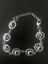 blue evil eye bracelet- Metal Details - New - Handmade - Free UK Post