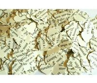1000 Vintage Book heart confetti/ table sprinkles. Wedding decoration Recycled