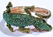 ~Extremely HIGH QUALITY!  90's Vtg Dazzling Rhinestone Alligator CUFF BRACELET