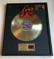 AC/DC HIGHWAY TO HELL 1979 GOLD METALIZED VINYL RECORD IN FRAME UNDER GLASS