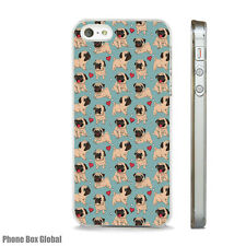 Nuevo Lindo patrón de perro Pug teléfono caso encaja APPLE IPHONE 4 5 6 7 8 X XS SE PLUS