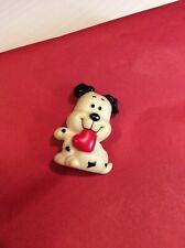 Russ Vintage Valentine Black White Dog W/ Heart Lapel Pin Brooch