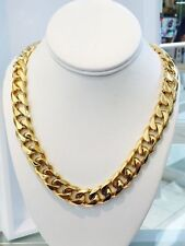 "Men's14K Gold Plated Miami Cuban Curb Link Chain12mm 30"" Heavy Solid Cheapest"