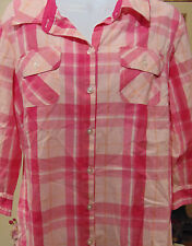 Croft & Barrow Women's Pink Checked  Large Button up Shirt