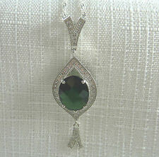 4.80ct Spinel & Cubic Zirconia Solid 925 Sterling Silver Pendant & Chain