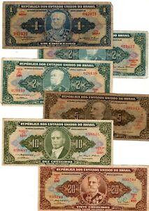 LOT 6 Billets BRASIL BRESIL 1 2 5 10 20 CRUZEIROS  BON ETAT