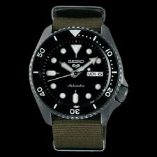 NEW Seiko 5 Sports 100M Automatic Men's Watch Black Bezel Dial Green Nylon Strap