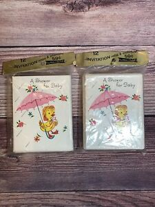 Lot Of 2 Vintage Baby Shower Invitations 2-  12ct Packages w/Envelopes Duck