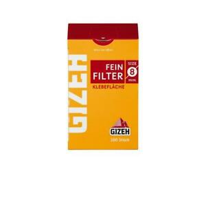 50x100er GIZEH Feinfilter 8mm (5000 Stück) mit Klebefläche Zigarettenfilter