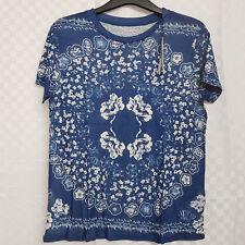 Ladies MAJESTIC FILATURES Top Blue Floral French Paris Linen Silk Blend Size S