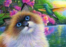 ACEO original ragdoll cat hummingbird azalea garden lake painting art