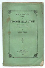 Libro Prolusione al Corso di Filosofia della Storia di Pavia Cristoforo Bonavino