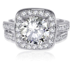 Genuine Sterling Silver Round Brilliant Cut Clear CZ Wedding Engagement Ring Set
