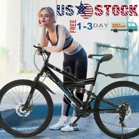 26inch Carbon Steel Mountain Bike Shimanos21 Speed Bicycle Full Suspension MTB*