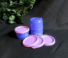 Tupperware NEW Set of 4 Lunch Snack Cups Lupine Purple w/ Lilac Light Seals