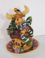 """Christmas Spirit Reindeer Decoration, 2 Piece 6"""" Porcelain Votive, Candle Holder"""