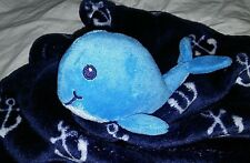 Hudson Baby Whale Security Blanket Lovey Navy Blue Anchors Fleece Soother Unisex