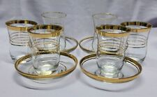 True vintage Pasabahce Turkey: 6 coffee glasses + 4 saucers. Gold trim, classy.