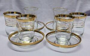 True vintage Pasabahce Turkey: 6 coffee glasses + 4 saucers. Gold trim, classy.