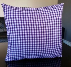"""Purple & White Cushion Covers Checkered Square 16"""" x 16"""" with Zips"""