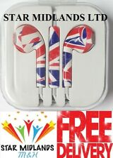 New BRITISH FLAG Headphones Earphones for iPhone, Samsung HTC Sony With Mic