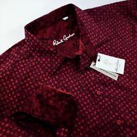 Robert Graham Geometric Bold Print Embroidered $320 Shirt BIG FIT 3XLB Burgundy