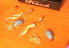 Hooch Earrings Aqua Blue Bead, Gold Laced Leaf & Flower RRP £24 BRAND NEW
