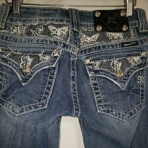 """Miss Me JEANS 27"""" X 32"""" Straightleg sequins lace butterfly pocket"""