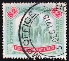 Malaya Federated Malay States FMS Elephants 1907 $2 MCCA Used SG#49 M2229