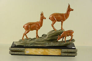 XL ART Deco 1930 French LIMOUSIN marked plaque Statue sculpture chamois group