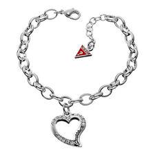 New Guess Jewelry Womens Silver Open Heart SS CZ Charm Ladies Bracelet UBB12907