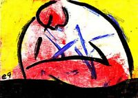 Original Painting Hand Signed Canvas Linen Little Picasso Miro Andy Miniature