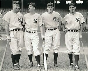 lou gehrig,joe gordon,red rolfe,frank crosetti 8x10 photo new york yankees