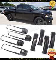 For 2009-2018 Dodge Ram 1500 GLOSS BLACK 2 Door Handle COVERS NPK+Tailgate w//KH
