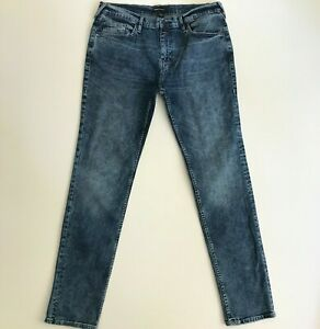 True Religion Mens 36 x 34 Rocco Stretch Relaxed Skinny Blue Jeans Pants 104906
