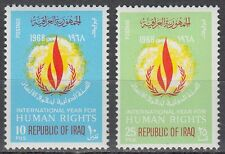 Irak Iraq 1968 ** Mi.539/40 Politik Policy Menschenrechte Human Rights Flamme