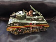 """Vintage 1940's Marx Tin Litho """"Doughboy"""" Wind-Up Tank (Works Great With Key)"""
