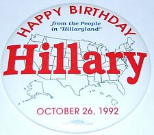 1992 HILLARY CLINTON 9 INCH UNION BUG campaign pin pinback button political bill