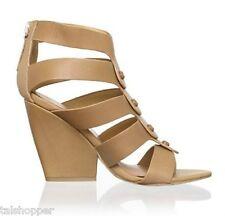 GWEN STEFANI NEW 7 M $265 L.A.M.B. Caged Leather MIRANDA Sandals Heels Wedge