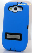 for Samsung galaxy S3 blue 2 layer hard & soft case w/ chrome stand i9300 S III