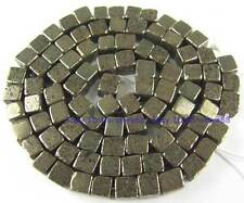100% Natura 4x4mm Square Pyrite Loose Beads 15''