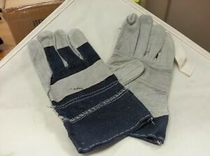 LOT OF 12 PAIR SAFETY GLOVE LEATHER PALM LARGE DENIM CUFF LEATHER PALMED 1130P